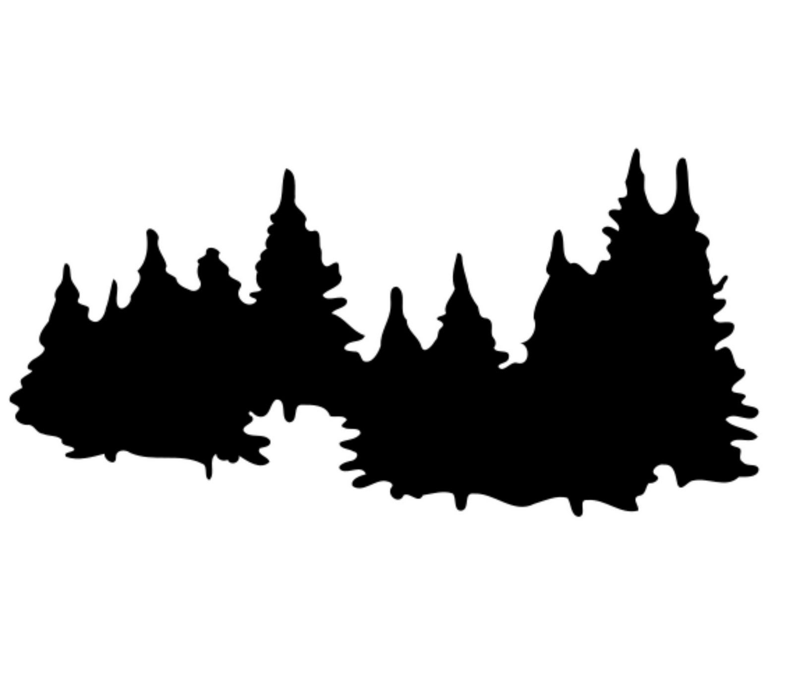 forest clipart black and white silhouette