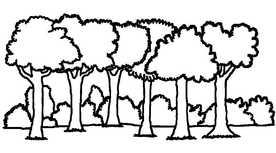 forest clipart black and white printable