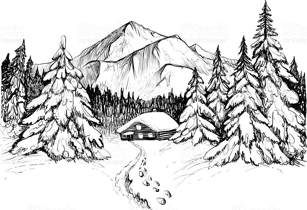 Forest clipart black and white sketch. Winter in mountains vector