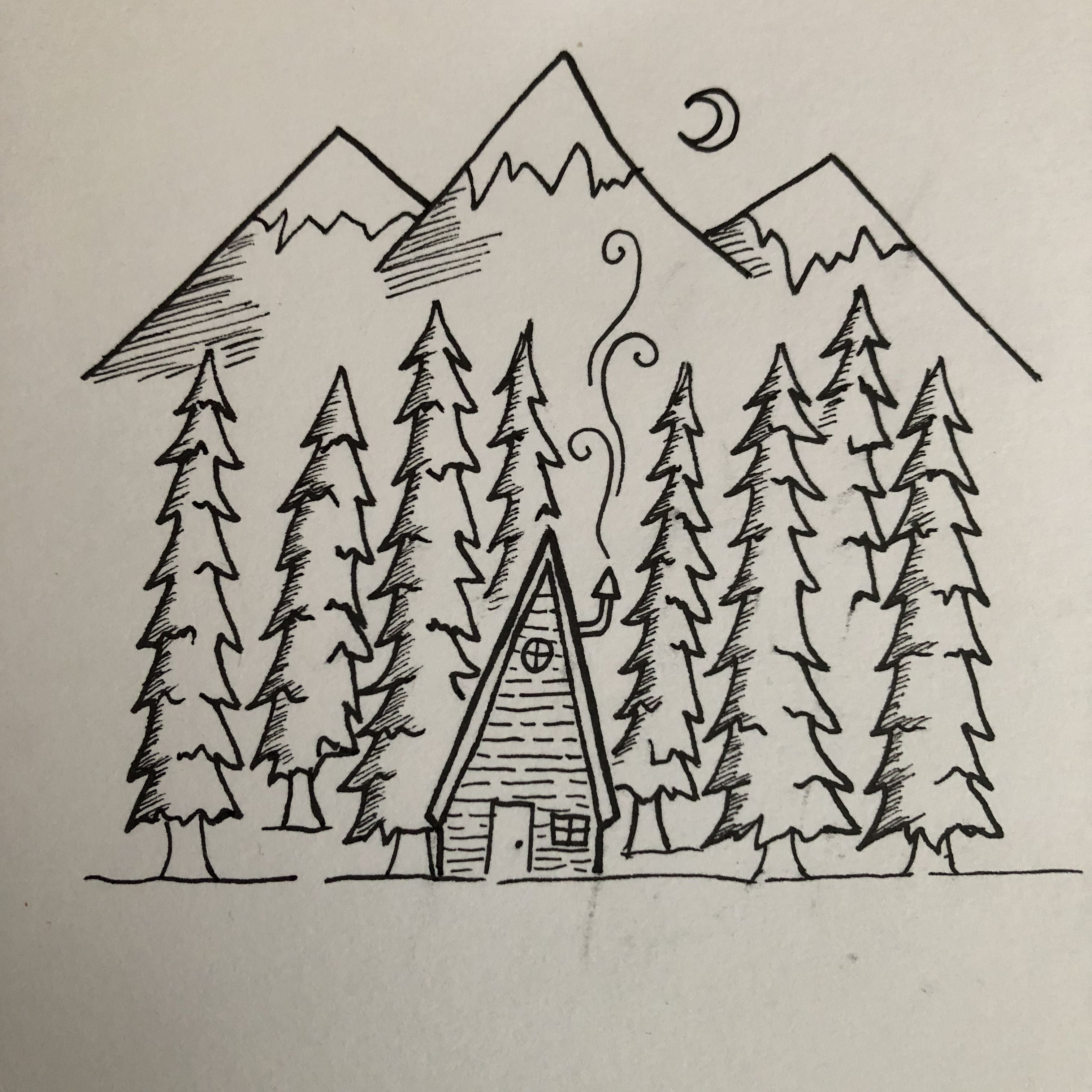 Forest clipart black and white sketch. Pen drawing mountains snow