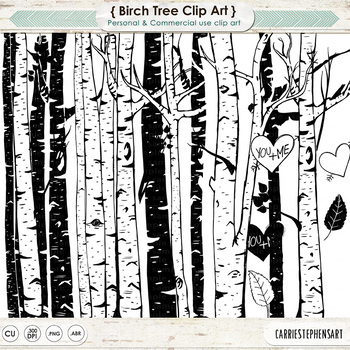 Forest clipart black and white woods. Birch tree clip art