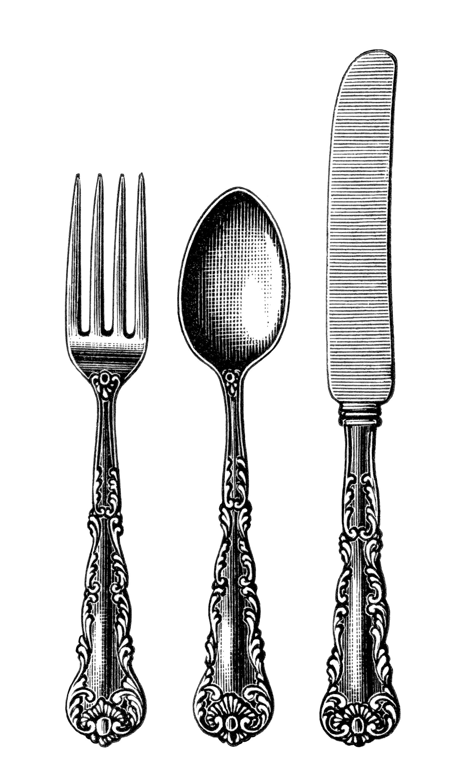 Silverware vintage cutlery clipart black and white clip art