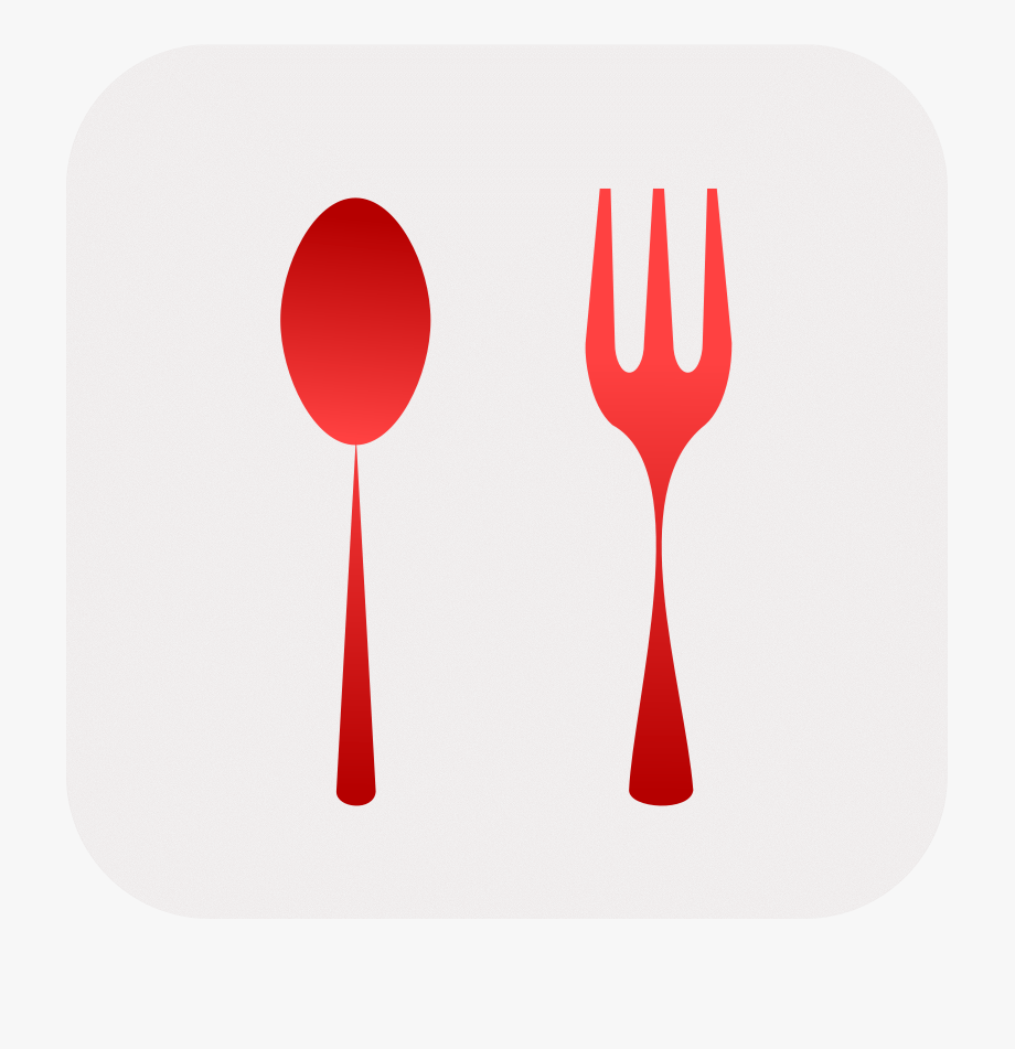 fork and spoon clipart red
