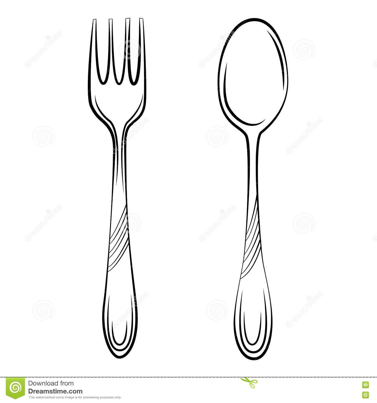 Fork clipart simple. Spoon and sketch illustration