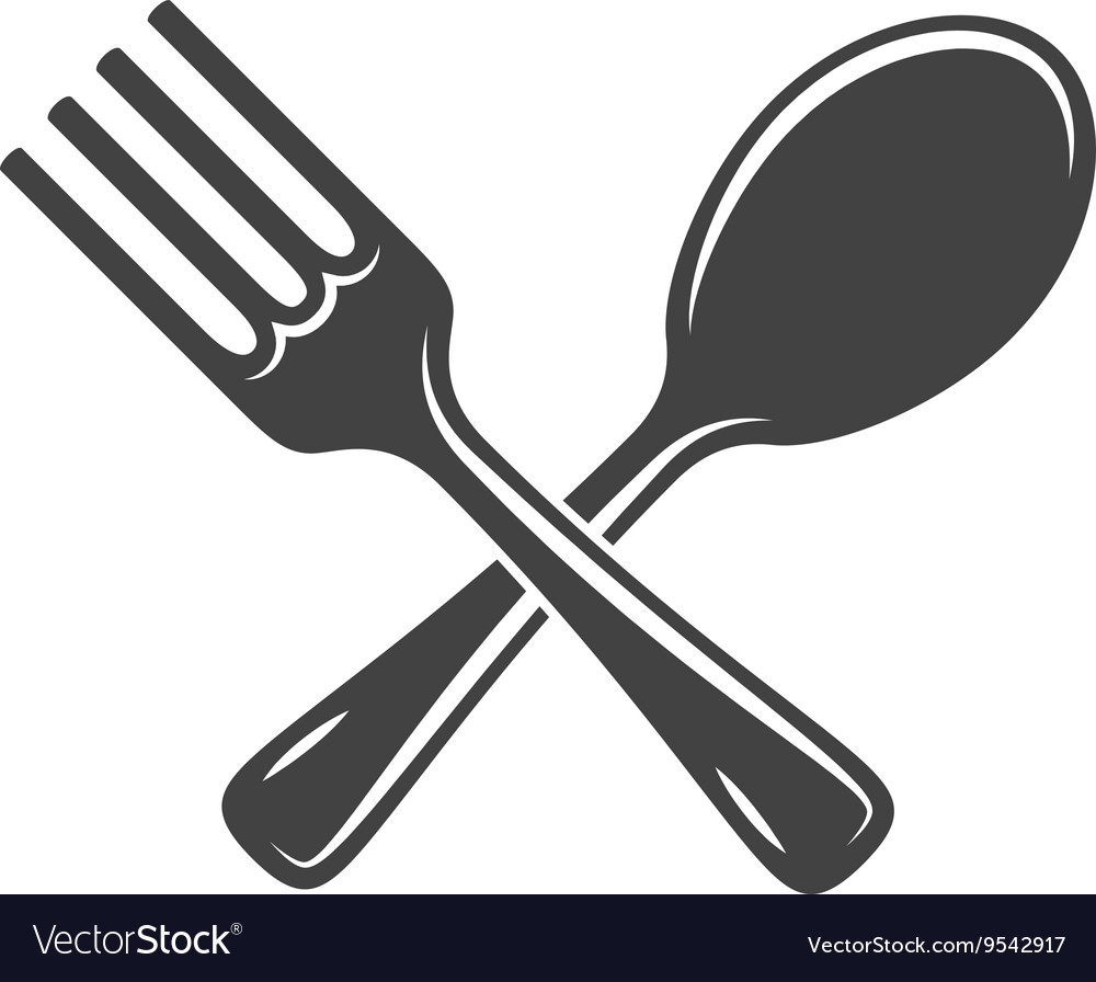 Fork clipart vector. Crossed spoon and isolated