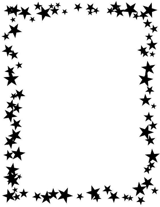 Star border clipart black and white