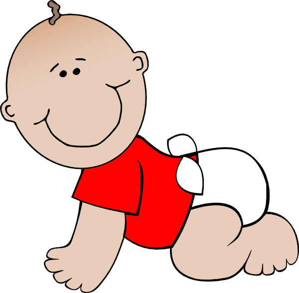 Crawling baby red.
