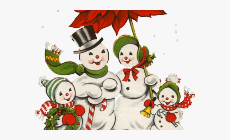 Retro clipart snowman.