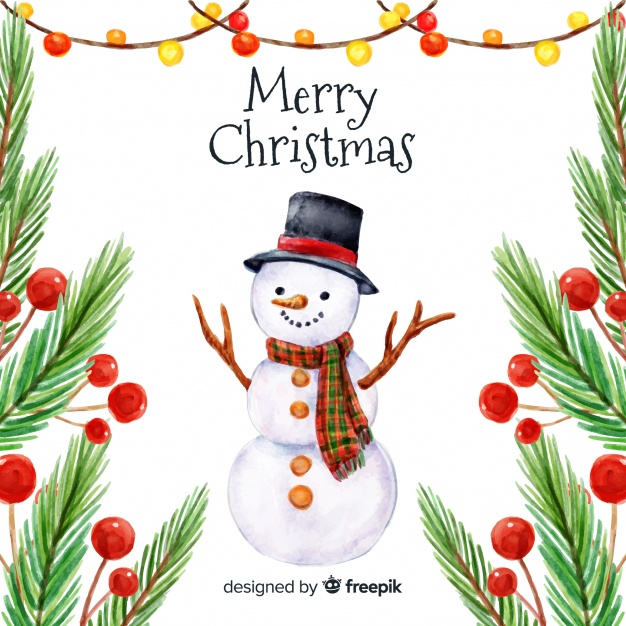 Traditional watercolor christmas background Vector