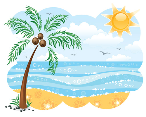 beach clipart palm tree