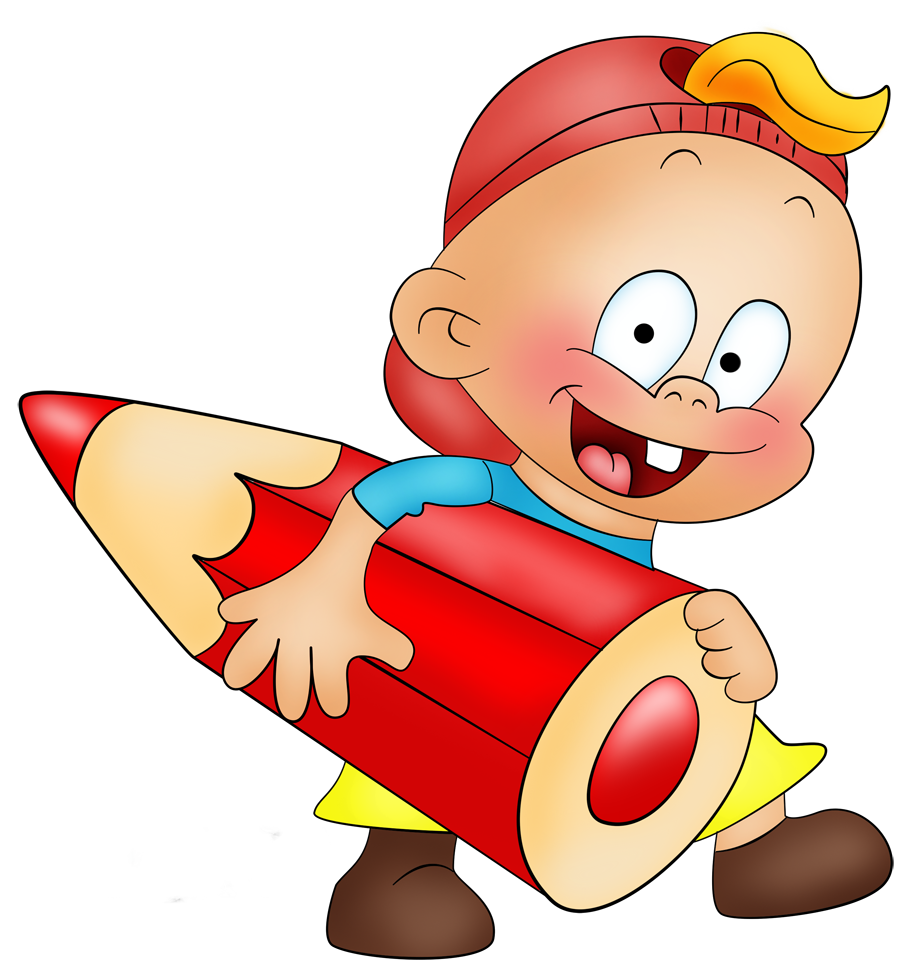 Little Boy with Pencil Cartoon Free Clipart