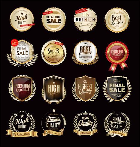 Collection of luxury golden design elements badges labels