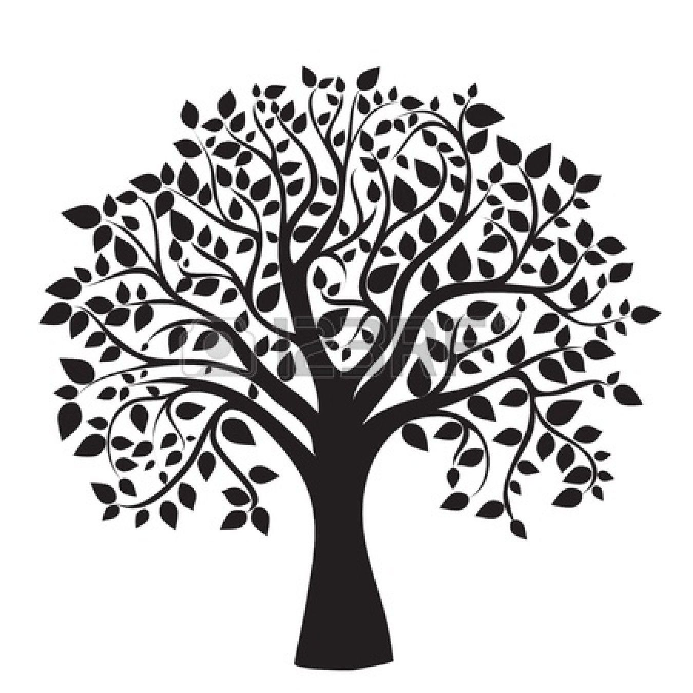 tree black and white clipart family