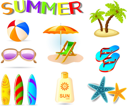 Summer holidays clip art free vector download