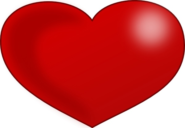 Red Glossy Valentine Heart clip art Free vector in Open