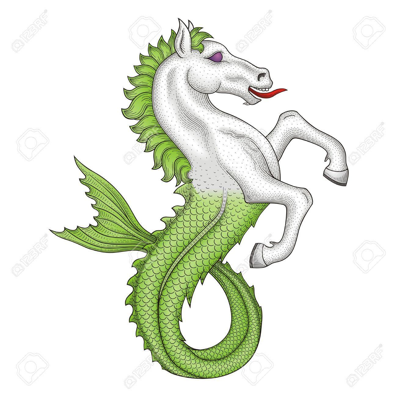 free heraldry cliparts seahorse