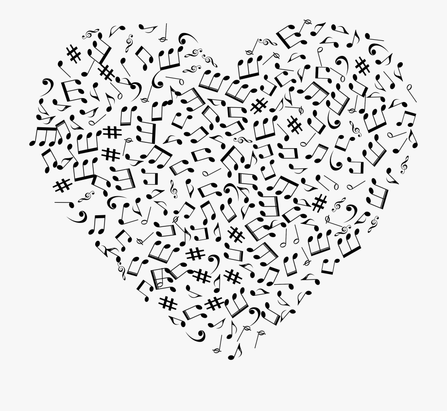 Music notes heart png.
