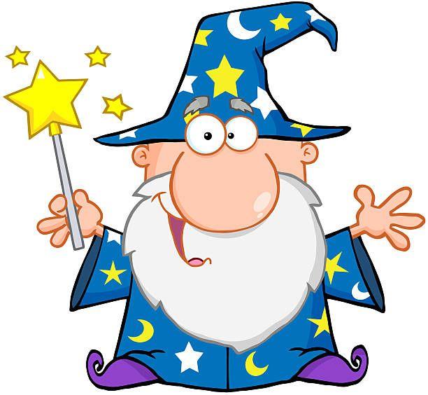 Funny wizard waving.
