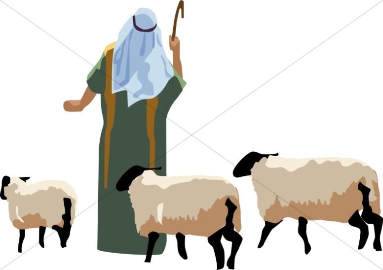 Shepherd and sheep.