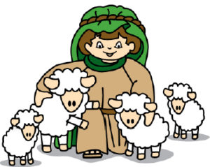 Sheep and shepherd.