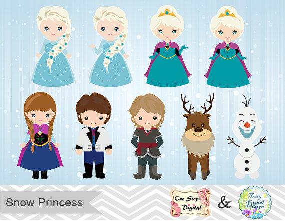 Instant Download Snow Princess ClipArt, Frozen Clipart, Snow