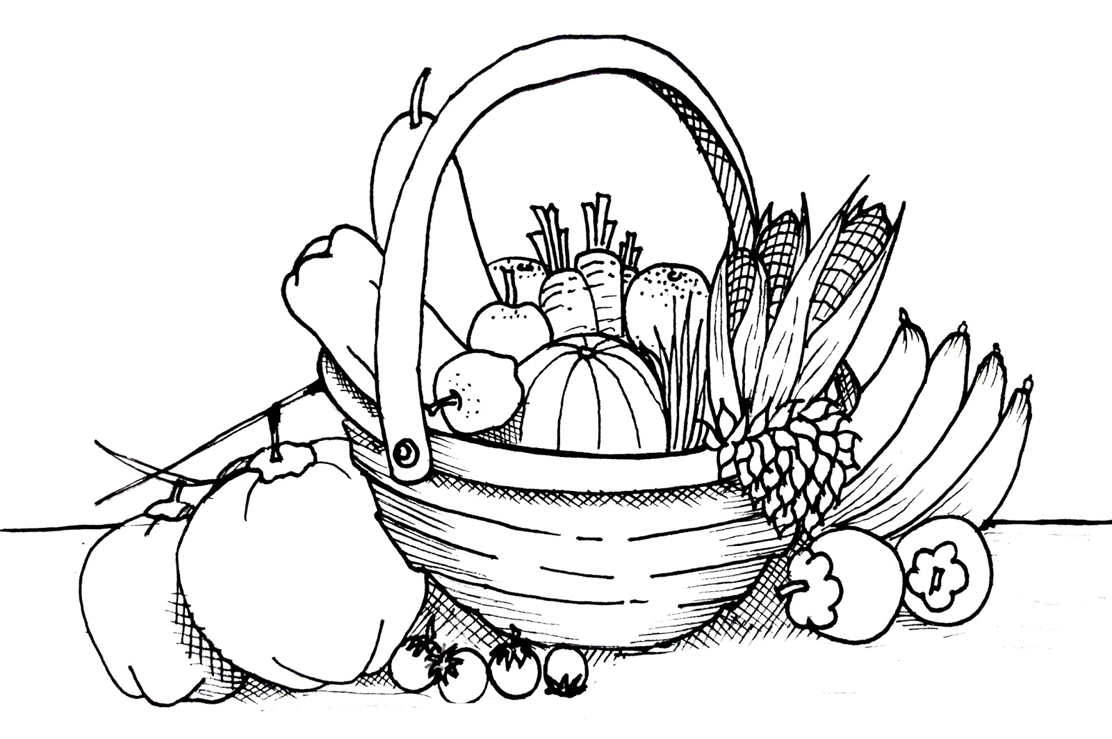 Free vegetables drawing.