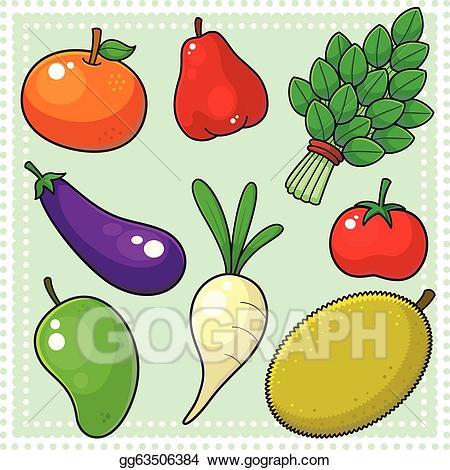 Vector art fruits.