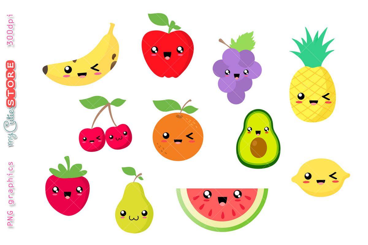 Collection kawaii fruits.