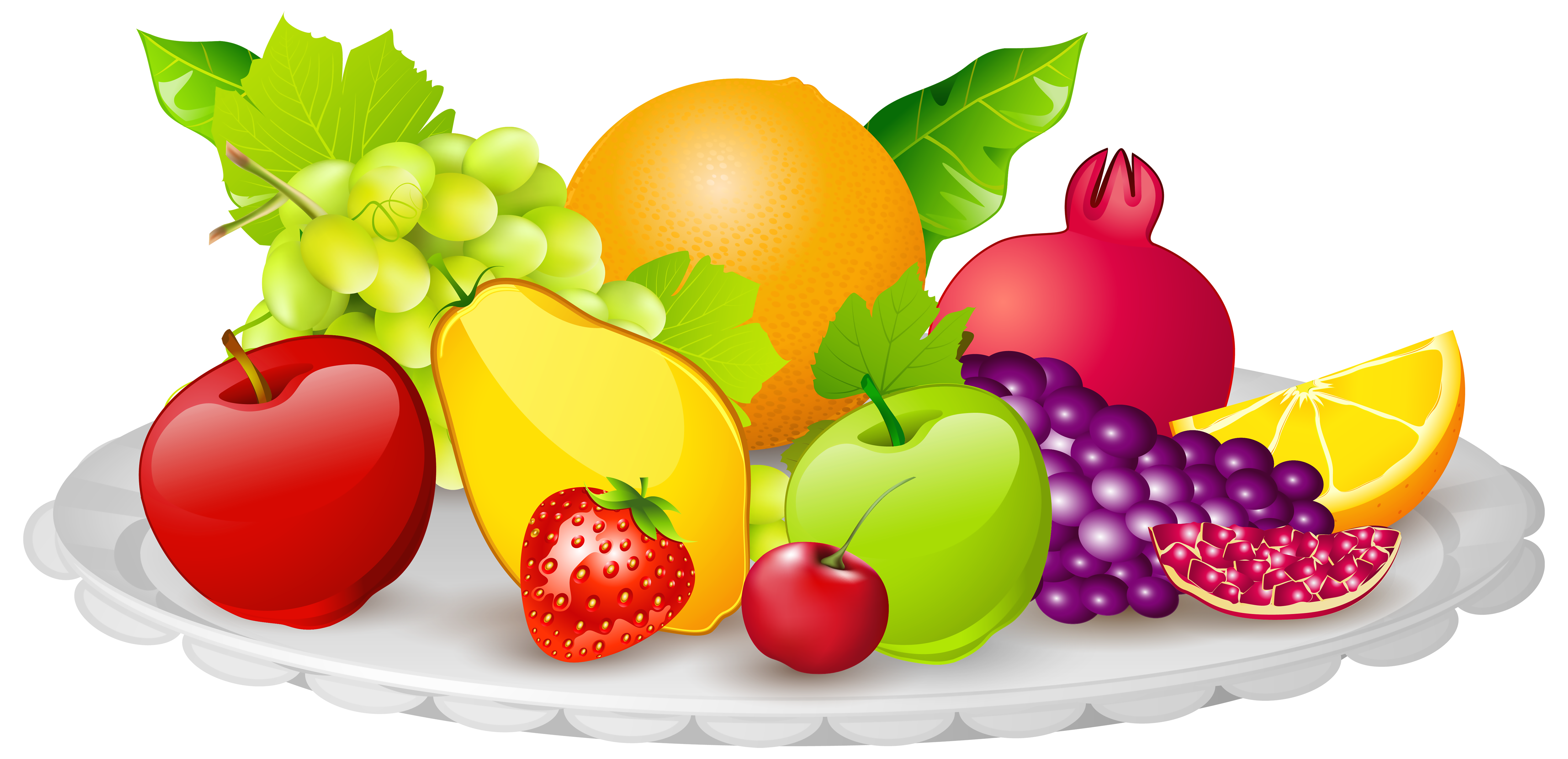 Plate with fruits.