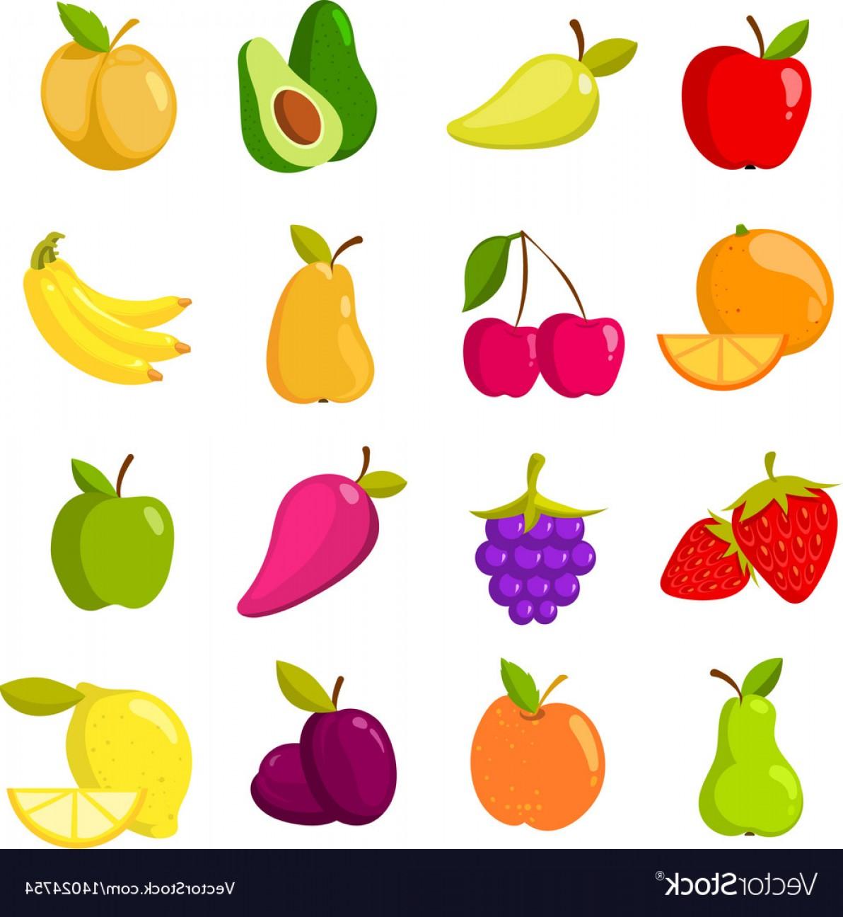 Cartoon fruits clipart.