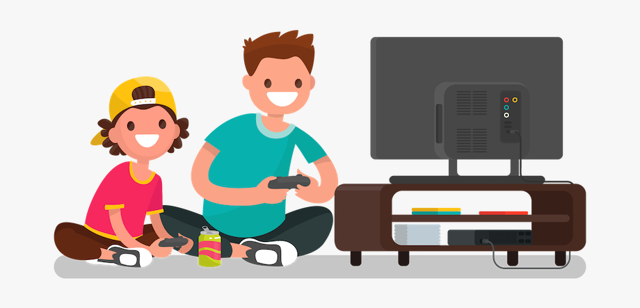 Playing video games.