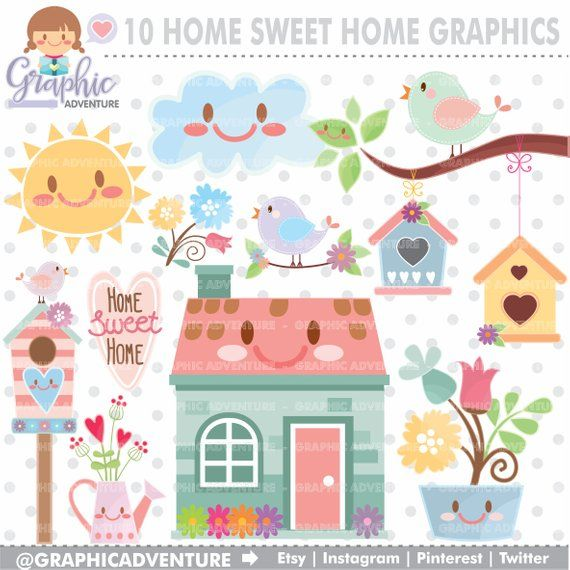 Home Clipart, Spring Clipart, Home Graphic, Spring Graphic