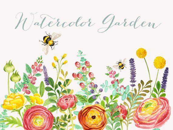 Watercolor garden clipart.