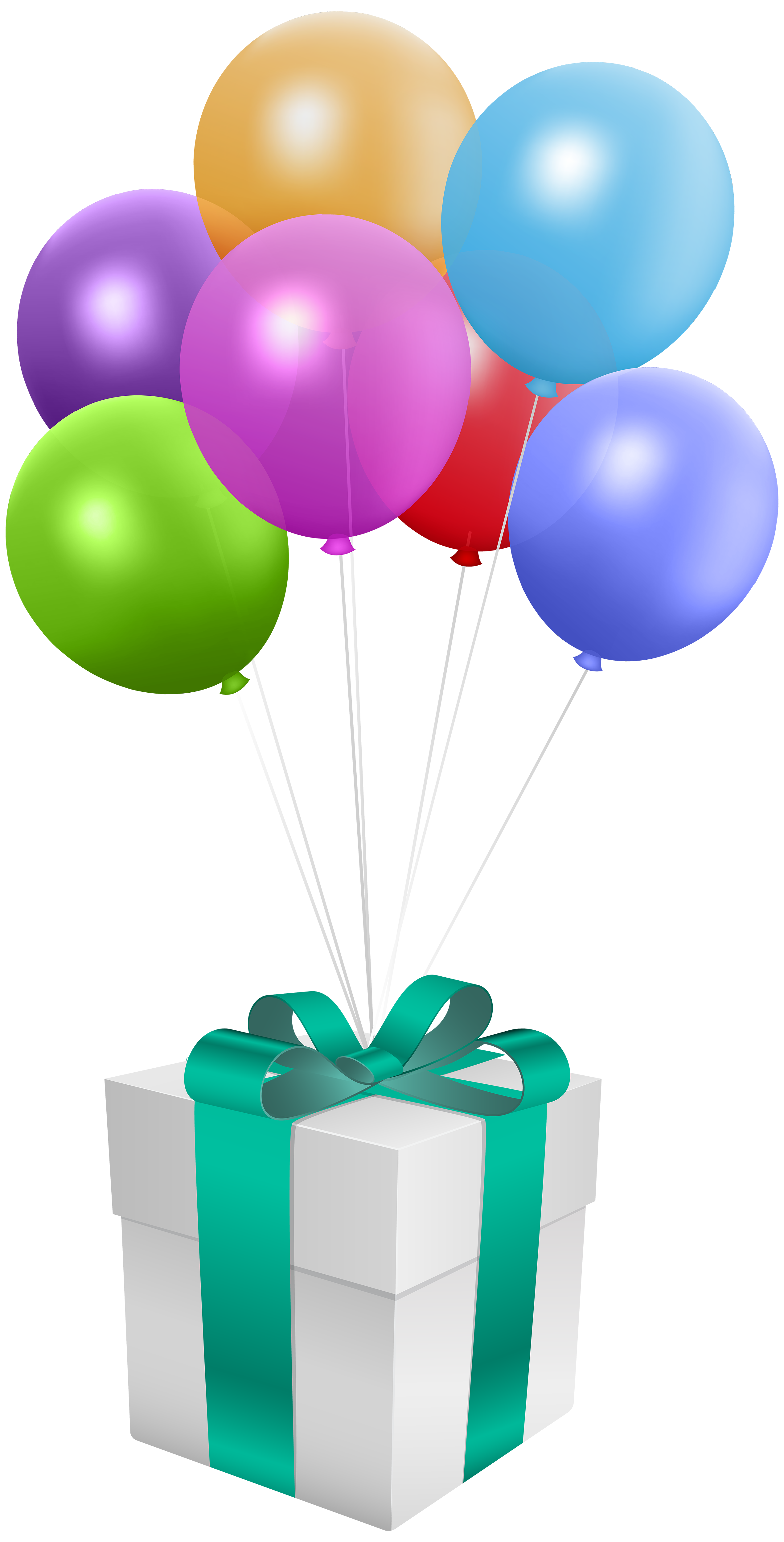 Gift with Balloons Transparent PNG Clip Art Image