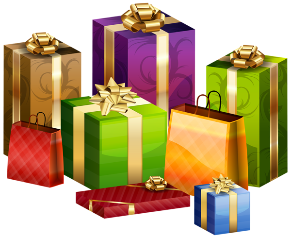Wrapped gifts transparent.