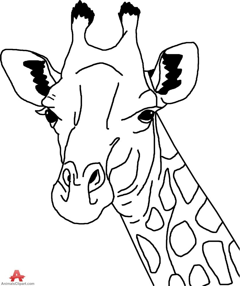 Giraffe outline clipart.