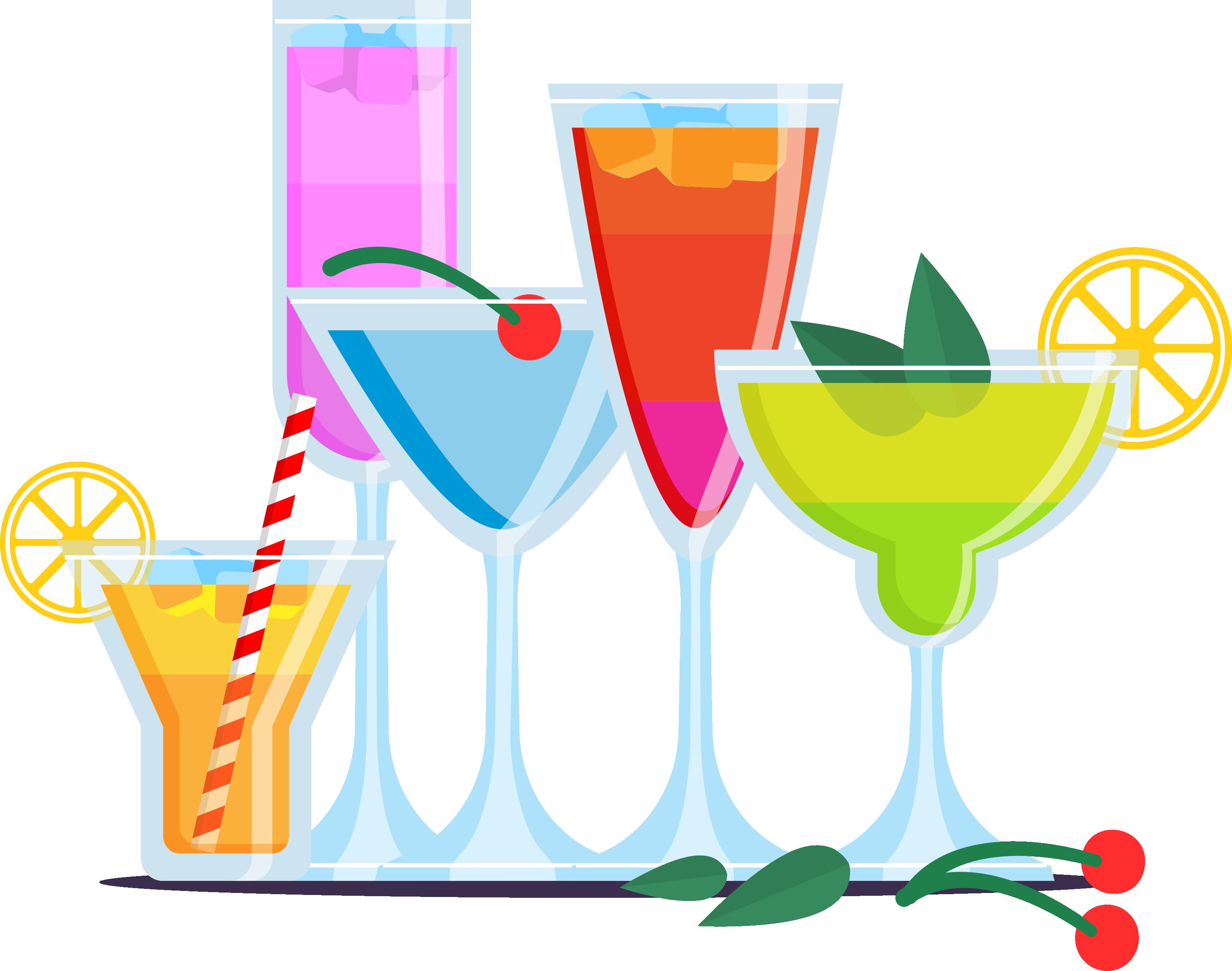 Cocktails clipart colorful.