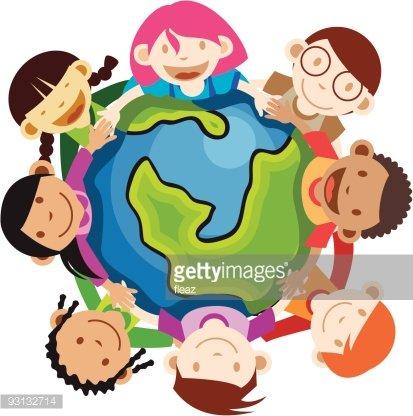 Multi ethnic kids holding globe Clipart Image