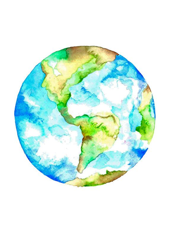 Watercolor earth paintingvalleycom.