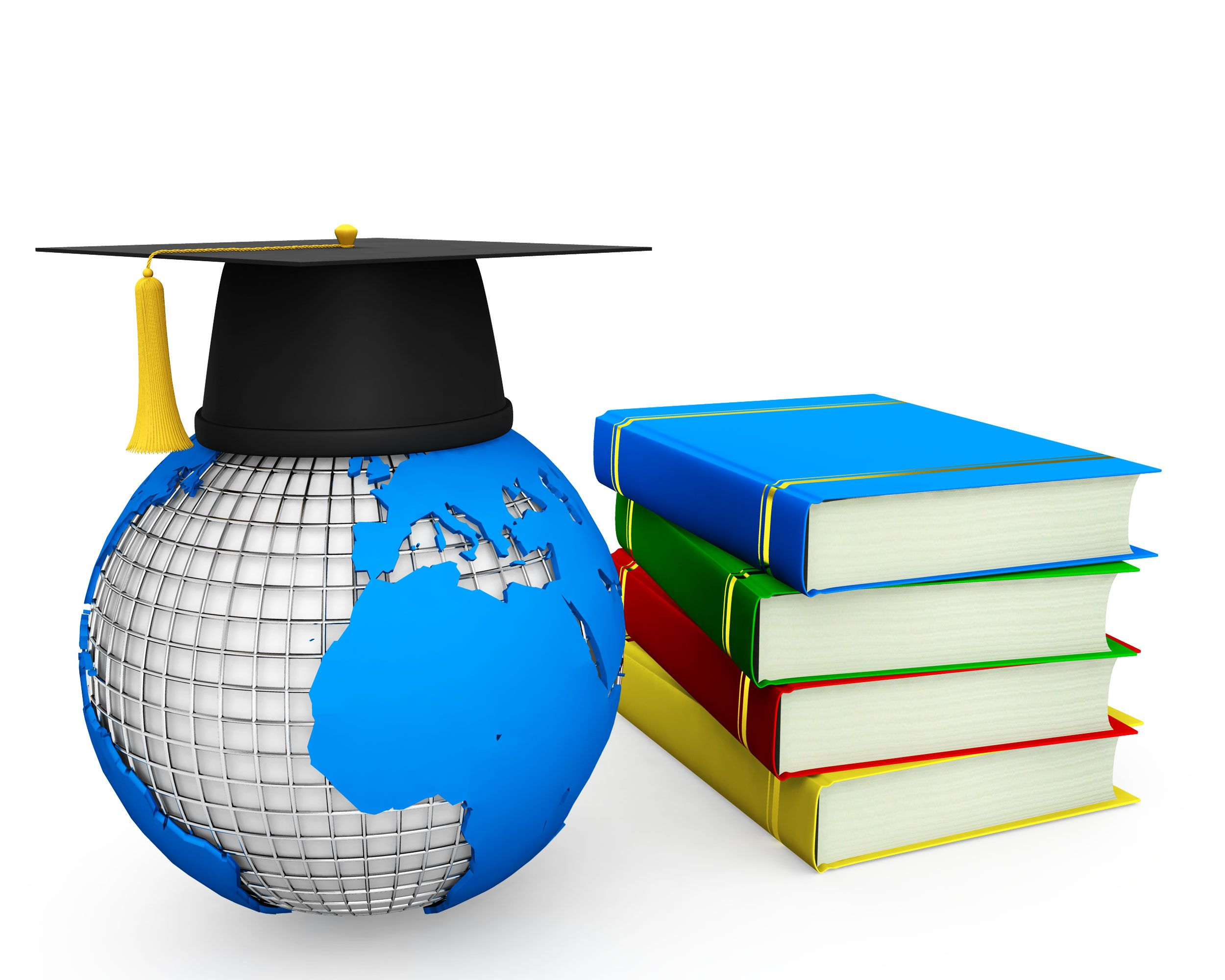 3D Globe With Graduation Cap And Books Stock Photo