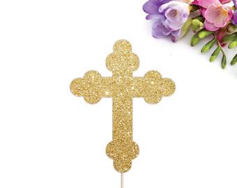 Gold glitter cross.
