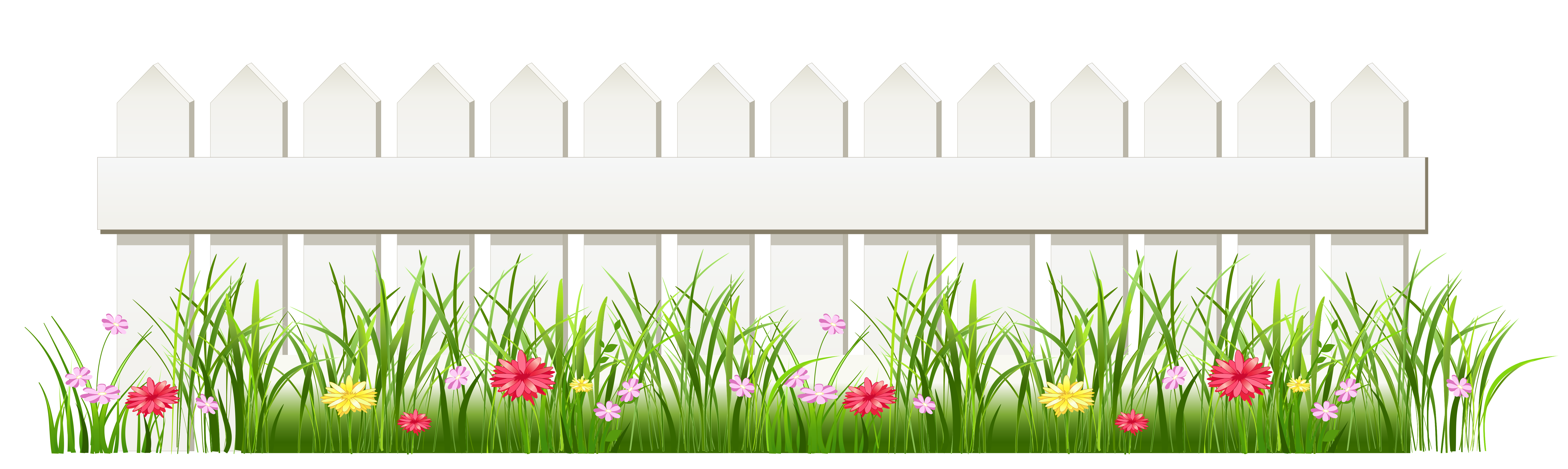 Transparent White Fence with Grass PNG Clipart