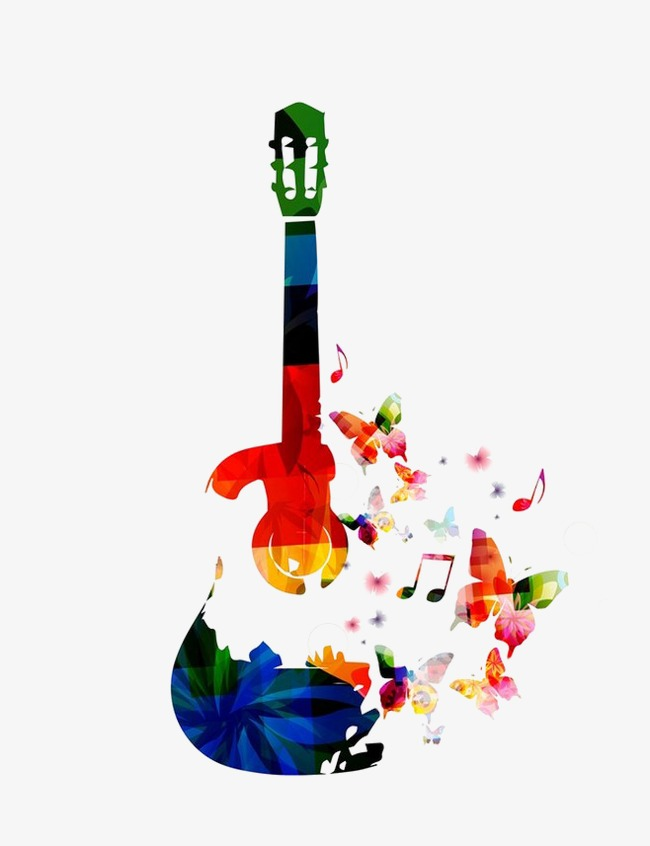 Colorful guitar png.