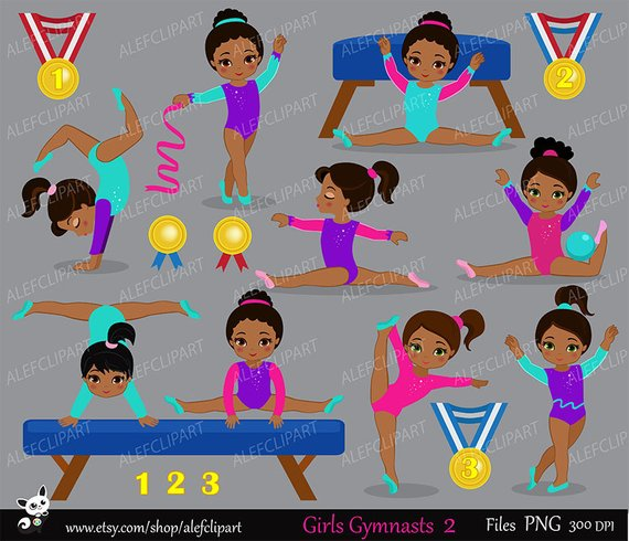 Gymnastics Girls Digital Clipart Set