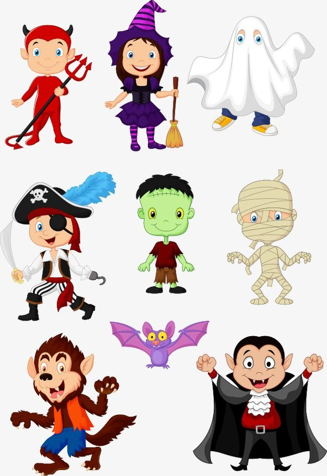 Vector Halloween Cartoon Animals, Cartoon Clipart, Halloween