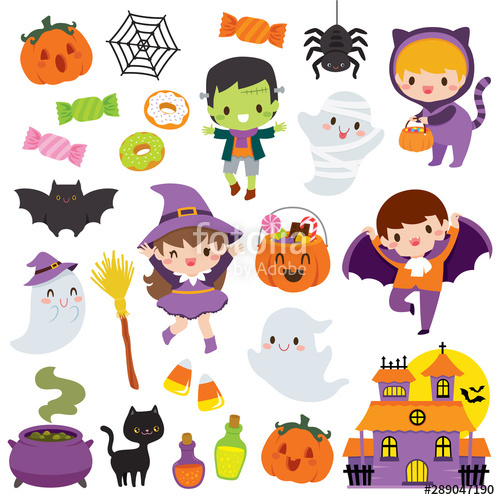 Halloween clipart set with cute cartoon characters of