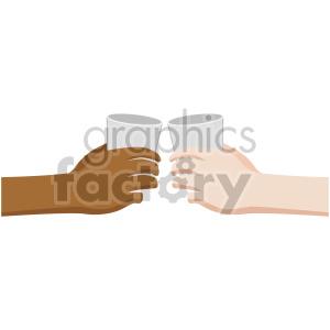 Interracial hands giving.