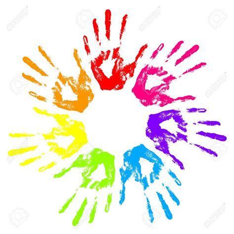 Rainbow hands clipart.