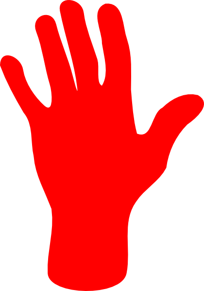 Red palm hand.