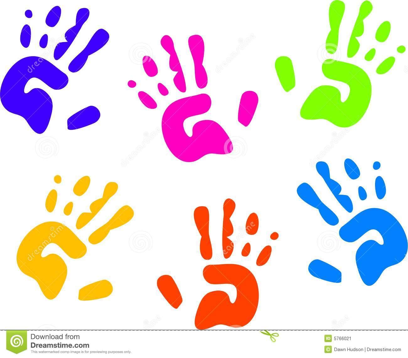 Kids handprint clipart.